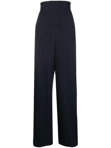 Шерстяные брюки - синие Chalayan