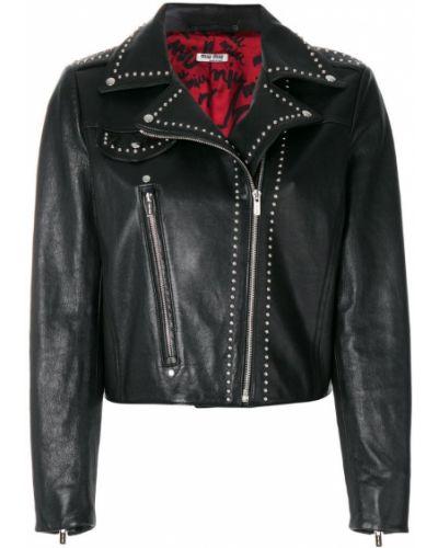 Кожаная куртка черная длинная Miu Miu
