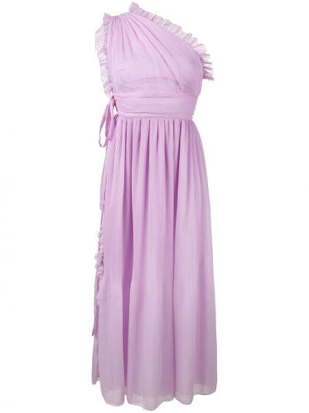 Шелковое розовое платье на одно плечо Rochas