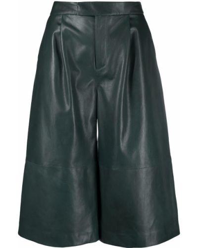 Зеленые кожаные шорты с карманами Closed