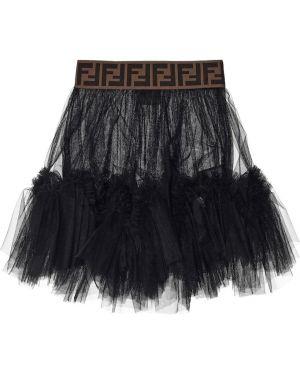 Черная юбка из фатина Fendi Kids