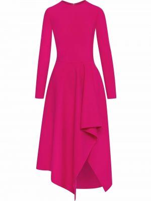 Платье макси с длинными рукавами - розовое Oscar De La Renta