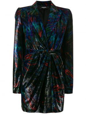 Бархатное черное платье макси с декольте Dsquared2
