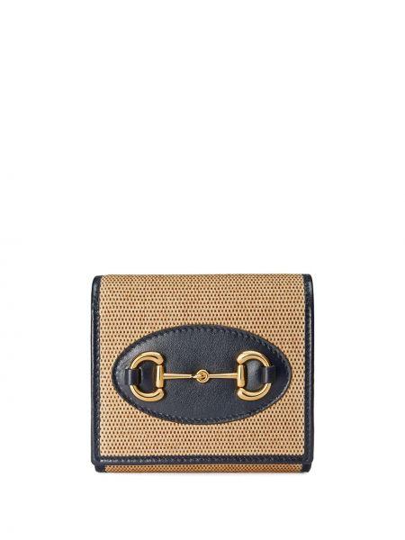 Beżowy złoty portfel Gucci
