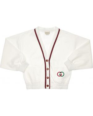 Prążkowany biały kardigan z haftem Gucci