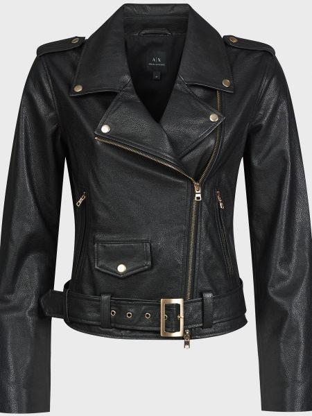 Черная кожаная куртка с поясом Armani Exchange
