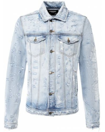 Джинсовая куртка на пуговицах синяя Dom Rebel