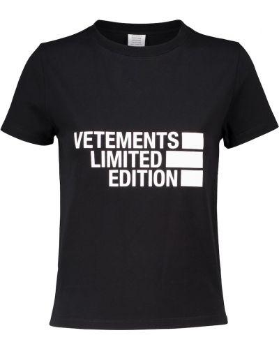 Приталенная хлопковая черная рубашка Vetements