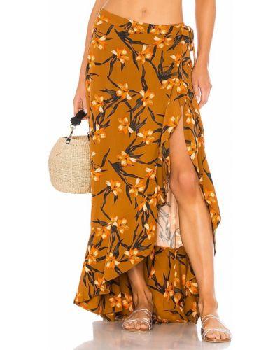 Pomarańczowa spódnica kopertowa na plażę L*space