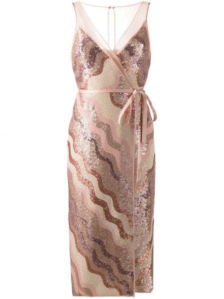 Розовое платье миди на молнии без рукавов Three Floor