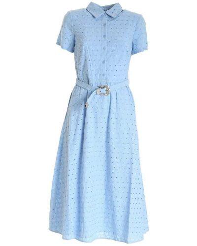 Niebieska sukienka midi boho krótki rękaw Polo Ralph Lauren
