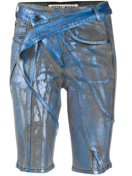 Синие хлопковые джинсовые шорты с карманами Ottolinger