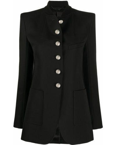 Однобортный черный удлиненный пиджак с карманами Paco Rabanne