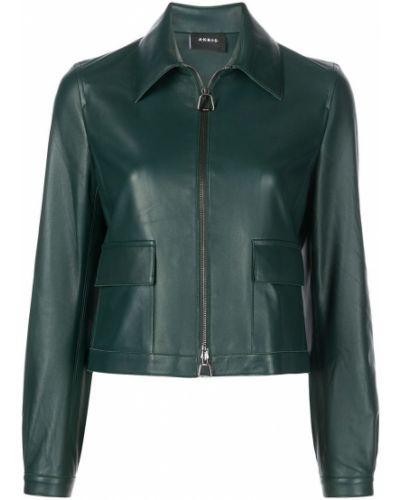 Зеленая кожаная куртка Akris