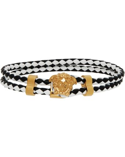 Кожаный браслет - белый Versace