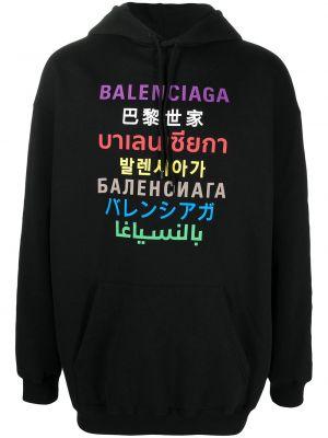 Ze sznurkiem do ściągania z rękawami czarny bluza z kapturem z kapturem Balenciaga