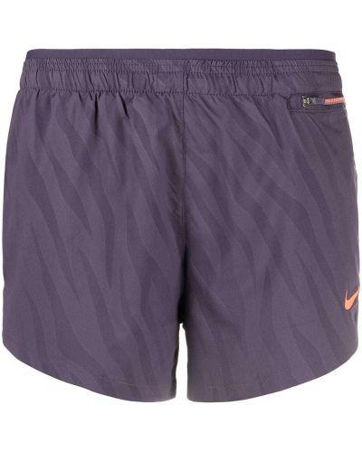 Fioletowe szorty do biegania z haftem Nike