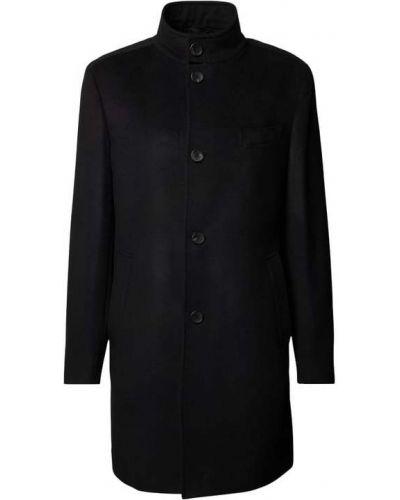Czarny z kaszmiru płaszcz Boss