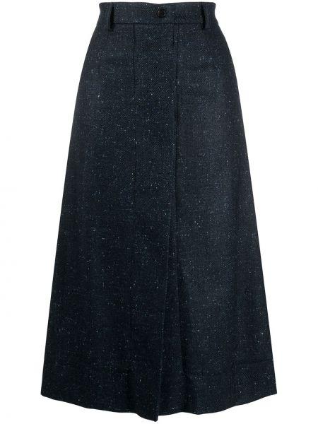 Шерстяная синяя юбка на молнии Mrz