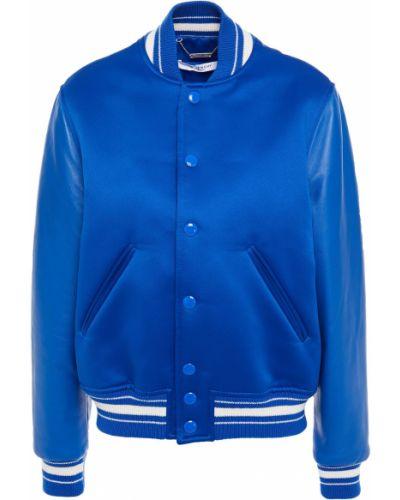 Niebieska kurtka bomber skórzana pikowana Givenchy