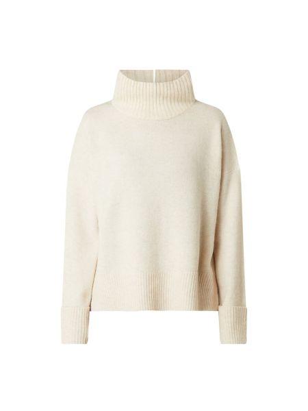 Prążkowany beżowy sweter wełniany Someday