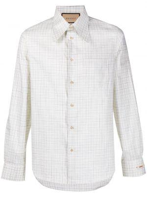 Beżowa koszula bawełniana z długimi rękawami Gucci