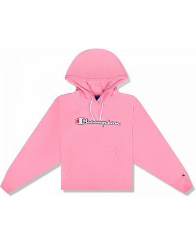 Хлопковая розовая толстовка с капюшоном Champion