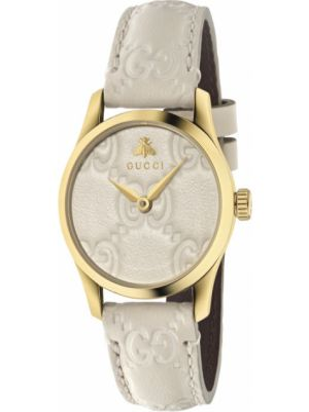 С ремешком кожаные бежевые часы на кожаном ремешке Gucci
