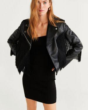 Черная облегченная куртка с капюшоном с кисточками Mango