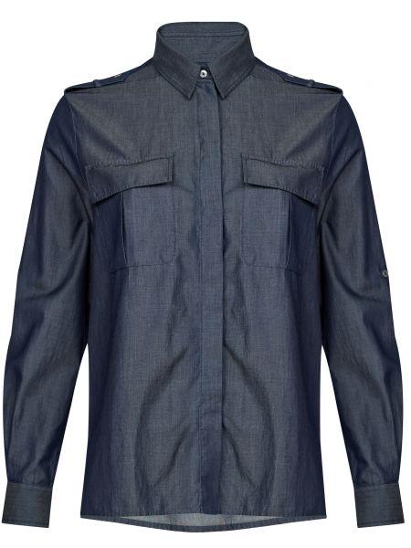 Хлопковая синяя рубашка на пуговицах Bagutta