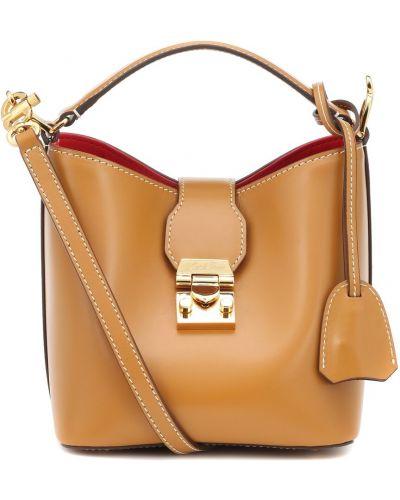 Деловая коричневая мягкая маленькая сумка Mark Cross