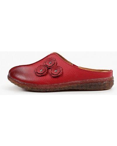 Красные кожаные сабо Makfine