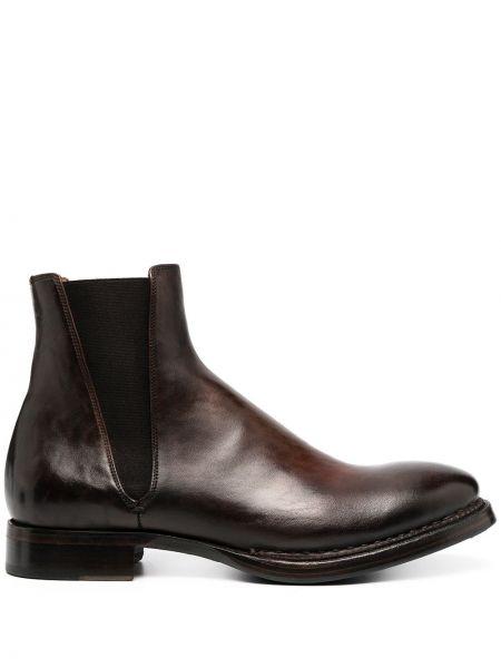 Кожаные коричневые ботинки челси на каблуке без застежки Silvano Sassetti