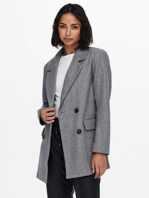Пальто двубортное - серое Only
