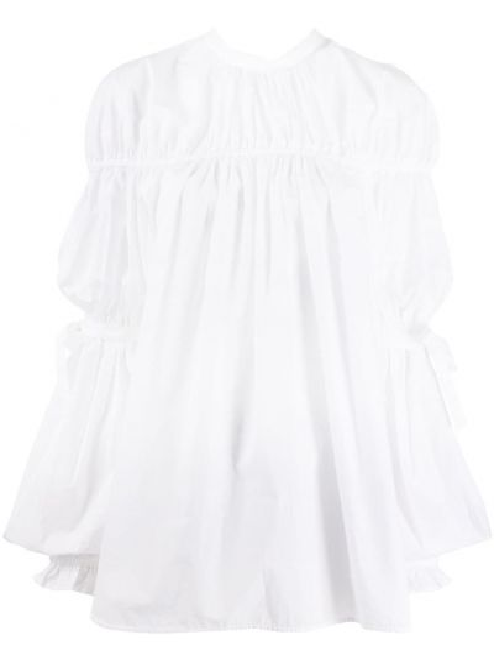 Biały bawełna koszula okrągły dekolt z długimi rękawami Enfold