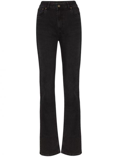 Прямые пляжные черные джинсы с высокой посадкой Rockins