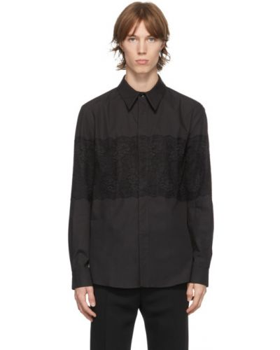 Czarna koszula bawełniana koronkowa Palomo Spain