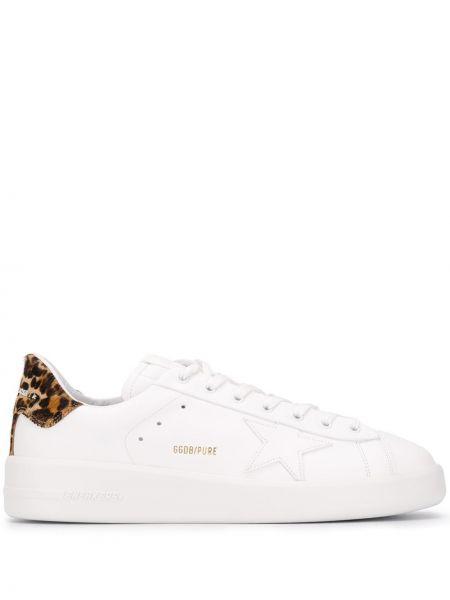 Biały ażurowy skórzany sneakersy z łatami Golden Goose
