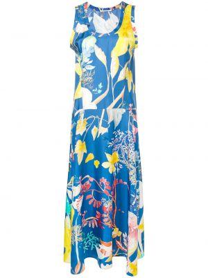 Шелковое платье миди - синее Agnona