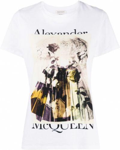 Прямая белая футболка с вырезом Alexander Mcqueen