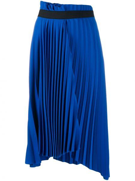 Плиссированная юбка с завышенной талией синяя Balenciaga