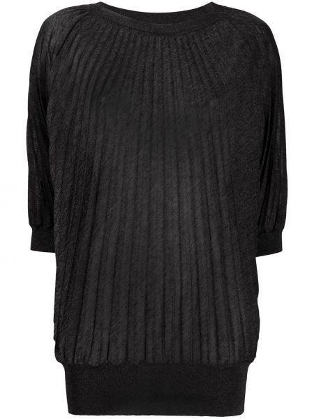 Черный плиссированный свитер из вискозы с круглым вырезом Marco De Vincenzo