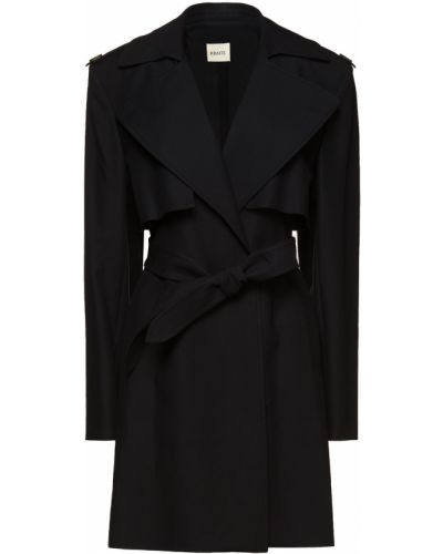 Черное пальто с карманами на пуговицах Khaite