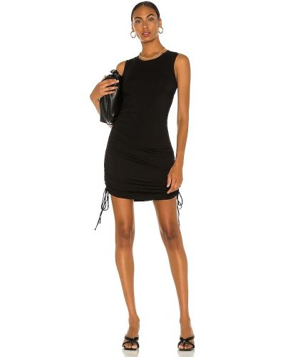 Трикотажное черное платье с оборками 1. State