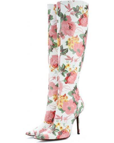 Сапоги на шпильке кожаные с цветочным принтом Vetements