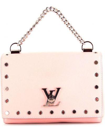 Розовая кожаная косметичка с карманами Louis Vuitton