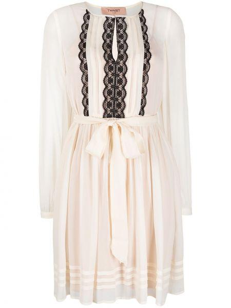 С рукавами белое платье макси с поясом Twin-set