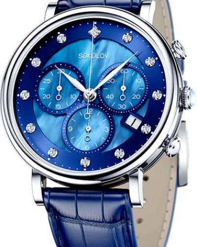 Часы на кожаном ремешке кварцевые с камнями Sokolov