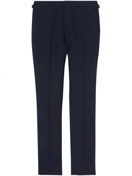Spodni niebieski wełniany klasyczne spodnie z kieszeniami Burberry