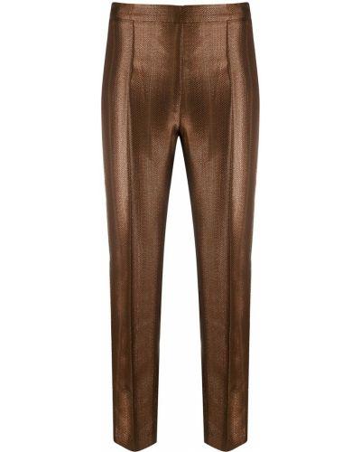 Прямые коричневые брюки с поясом из вискозы Hebe Studio